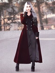 Wine Red Double Breasted Gothic Long Coat for Women Plus Size Goth, Gothic Mode, Vintage Goth, Mode Costume, Fantasy Dress, Gothic Outfits, Character Outfits, Dark Fashion, Gothic Beauty