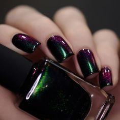 Salem - Rich Black Green Shimmer Nail Polish by ILNP - Leigha Baxley - Dekoration Bright Summer Acrylic Nails, Summer Nails, Cute Nails, Pretty Nails, Hair And Nails, My Nails, Oval Nails, Nail Art Designs, Nails Design
