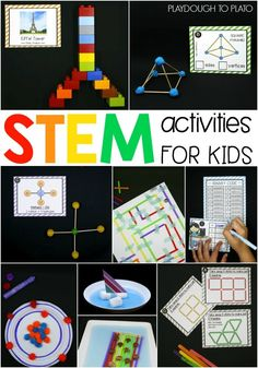 Tons of easy to follow STEM (science, technology, engineering and math) activities for kids! Learn about measurement, shapes, molecules, problem solving... so many important STEM skills.