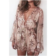 Gold Sequin Plunging V-neck Long Sleeves Playsuit ($39) ❤ liked on Polyvore featuring jumpsuits, rompers, long-sleeve romper, long-sleeve rompers, brown romper, gold rompers and gold romper