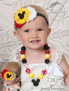 LIttle girls Mickey Mouse Necklace and Baby Headband SET,Baby Headbands, Mickey Mouse Chunky Necklace, baby 1st birthday MIckey Mouse set.