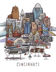 Cincinnati skyline group portrait art print by smalltower on Etsy