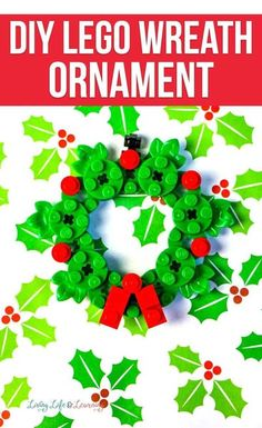 Making Lego ornaments has become increasingly popular. And this DIY Lego wreath ornament is not only super simple to make, but adorable too. Lego Christmas, Christmas Wreaths, Lego Ornaments, Lego Challenge, Christmas Activities For Kids, Green Wreath, Wreath Supplies, Ornament Wreath, Super Simple