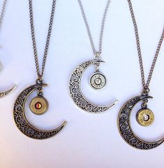 Your place to buy and sell all things handmade Bullet Necklace, Bullet Jewelry, Moon Necklace, Washer Necklace, Galaxy Jewelry, Bullet Casing, Swarovski Stones, Filigree Design, Antique Silver