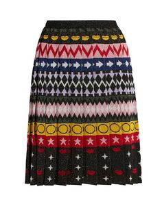 MARY KATRANTZOU Mandy Motif-Jacquard Pleated Skirt. #marykatrantzou #cloth #skirt