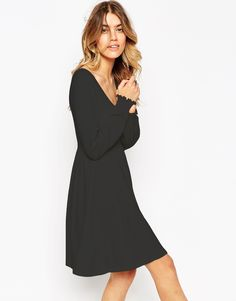 ASOS Babydoll Dress with Scoop Neck and Shirred Cuff
