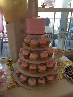 First birthday. Pink and gold cake and cupcakes. Twinkle twinkle little star