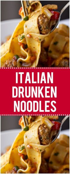 Italian Drunken Noodles With Spicy Italian Sausage – Quick Family Recipes Italiaanse dronken noedels met pittige Italiaanse worst – snelle familierecepten Ground Italian Sausage Recipes, Sausage Recipes For Dinner, Sausage Pasta Recipes, Italian Sausage Pasta, Italian Recipes, Recipe With Italian Sausage, Italian Sausage Casserole, Crockpot Italian Sausage, Chicken Sausage Pasta