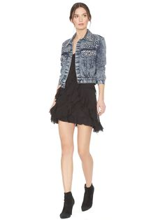Chloe Studded Crop Denim Jacket | Alice + Olivia