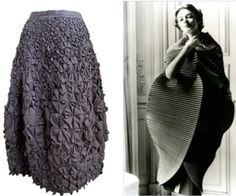 Issey Miyake, Gray origami skirt on 1stdibs, 1990s; Schiaparelli, Pleated Cocoon dress on stylemelbourne.com, 1951 #1stDibs