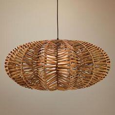 really cool rattan flat round pendant light.