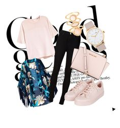 """""""Baby pink"""" by anteabikic ❤ liked on Polyvore featuring moda, H&M, AG Adriano Goldschmied, Topshop, MICHAEL Michael Kors, The Horse e Monsoon"""