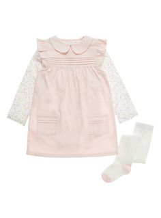 Girls Pink Corduroy Pinafore And Bodysuit (0-12 months)