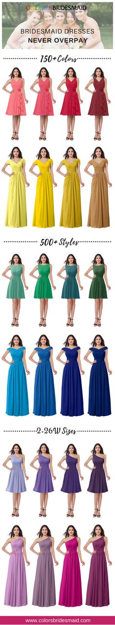 Our bridesmaid dresses in 150+ colors, 500+ styles, size 2-26W are mostly sold under $100. You will never overpay here.