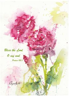 New Rose Blooms - a cheerful, bright little watercolor painting! This will brighten up any room! This original watercolor painting measures x and is sold matted and ready to frame! O My Soul, Bless The Lord, Watercolor Paintings, Watercolors, Blooming Rose, Note Cards, Giclee Print, Fine Art, Psalms