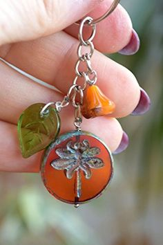 Dragonfly keychain Beaded keyring Hippie Keychain Glass beads summer accessories Cool Keychains Silver Keychain Charms best friend gift BFF girlfriend gift Nature lover gift Mom Gift