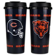 """Chicago Bears NFL """"Helmet"""" Plastic 16oz Travel Mug 2 Pack"""