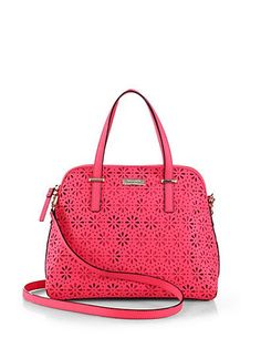 Perforated daisies add a chic feminine vibe to this structured everyday satchel.Double top handles 5 dropRemovable adjustable shoulder strap 1818922189 dropTop zip closureProtective metal feetOne inside zip pocketTwo inside open pocketsFully lined11W X 9H X 5DLeatherMade in Italy #Fashion #SaksFifthAvenue @ http://www.CuteHandbags.NET