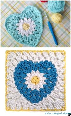 #Crochet Daisy Flower Heart Granny Square Free Pattern