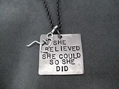 SHE BELIEVED SHE COULD SO SHE DID with Sterling Silver Running Girl Necklace - Nickel pendant with Sterling Silver Running Girl Charm priced with Gunmetal chain