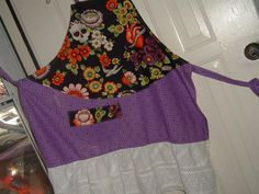 Folk Art Day of the Dead Apron by manosmias on Etsy (Accessories, Apron, Full, day of the dead, kitchen apron, fiesta apron, mexican, sugar skulls, skull apron, calaveras, dia de los muertos, frida, fashion apron, lace apron, purple apron)