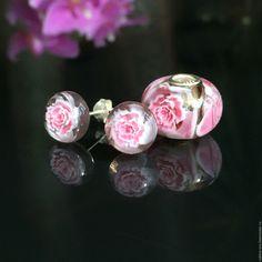 Купить Нежная Весна... Серьги-пуссеты - бледно-розовый, слоновая кость, серьги, стекло, серебро