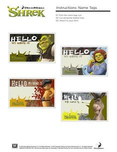 7941291e Free Printable Shrek Birthday Party: Invitation, Game, Party Hat, Place  Tags. Mask ...