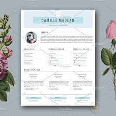 Resume Template 3 page and FREE Cover Letter. Modern CV Template for MS Word and Pages by BotanicaPaperieShop Creative Cv Template, Modern Cv Template, Best Resume Template, Creative Resume, Free Cover Letter, Cover Letter Template, Letter Templates, Cover Letters, Design Templates