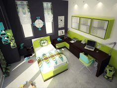 Minecraft boys bedroom ideas kids room curtains for bedroom child bedroom baby boy room decor kids Green Bedroom Colors, Lime Green Bedrooms, Green Bedroom Design, Green Boys Room, Bedroom Color Schemes, Green Rooms, Green Walls, Paint Schemes, Nursery Design
