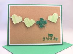 3-D Handmade St. Patricks Day Card, St. Pattys Day Card, Happy St. Patricks Day, Hearts and Clover, Embossed, Green and White Twine. $3.00, via Etsy.
