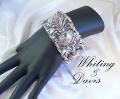 Vintage Whiting & Davis Silver Mesh Bangle ~ Hinged with Original Guard Chain by MarlosMarvelousFinds, $47.83