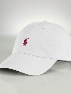 Chino Baseball Cap - White with classic burgundy embroidery
