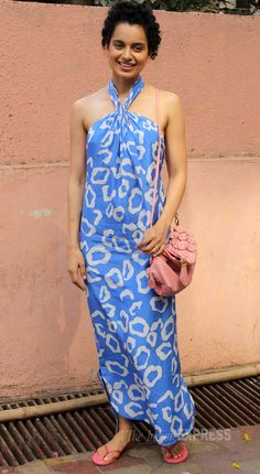 'Revolver Rani' - Kangana Ranaut was refreshing in a blue DvF maxi during one of the promotions for the movie in Mumbai. ***