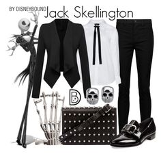 """Jack Skellington"" by leslieakay ❤ liked on Polyvore featuring J Brand, Zizzi, WithChic, Alexander Wang, Prada, disney, disneybound, disneycharacter and plus size clothing"
