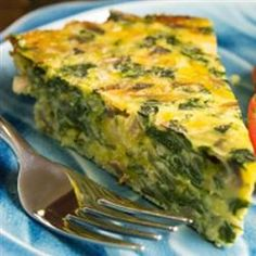 Spinach Feta Crustless Quiche.  Delicious - hearty and healthy.  We eat this for dinner often! I like a little sprinkle of nutmeg in it to give it a quiche Lorraine taste.