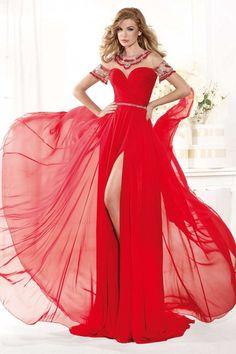 Sweetheart Beads Backless Split Side Sleeveless Capped Sheer Floor Length Evening Prom Dress