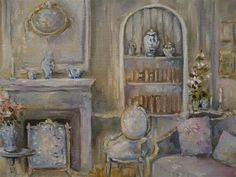 Interior Scene - Barton Cottage - Jane Austen' s World series - Original Oil painting Helene Flont - French painter Interior Rendering, Interior Sketch, Watercolor Landscape, Watercolour Painting, Romantic Cottage, Art Oil, Decoration, Cute Pictures, Photos