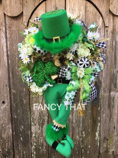 A personal favorite from my Etsy shop https://www.etsy.com/listing/512737231/st-pattys-day-wreath-leprechaun-wreath