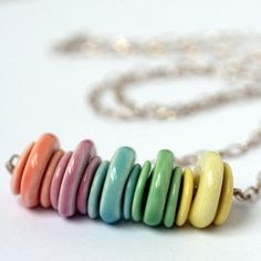 Feel the rainbow... Porcelain Rainbow Bead Long Necklace Sterling by JoHeckettSaleShop, £45.00