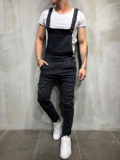 Vulcann Ripped Overall is perfect to match with a casual and simple T-shirt. This ripped style will give an different style on your stretchy Jeans! Material: Jeans and Spandex Style: Casual Thickness: Midweight Soft: Regular Hipster Outfits, Hipster Fashion, 80s Fashion, Urban Fashion, Fashion Trends, Fashion Styles, Stylish Outfits, Street Fashion, Rave Outfits Men