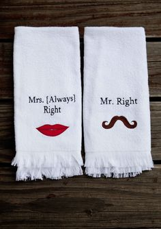 Mr and mrs monogrammed towel set 2 bath towels 30 x 54 for Mr and mrs spa