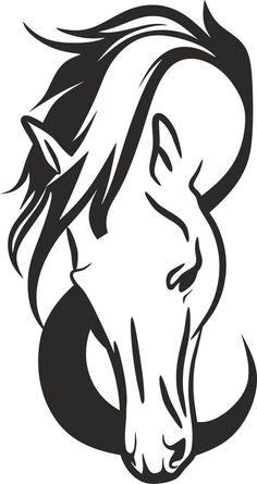 Horse Head Silhouette by GDJ - Angela Barbour - Pferd Horse Drawings, Animal Drawings, Art Drawings, Horse Head Drawing, Horse Stencil, Stencil Art, Stencils, Animal Silhouette, Silhouette Vector