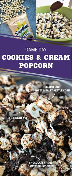Sponsored by Frito-Lay. Coated with crushed chocolate cookies and drizzled with semi-sweet and white chocolate, this Cookies and Cream Popcorn is a game-winning treat that's sure to suit your Super Bowl LII party! Made with SMARTFOOD® Sweet & Salty Kettle Corn, football fans everywhere are sure to cheer for this sweet and salty snack. Score everything you'll need for this recipe to get ready for your entertaining your game day celebration.