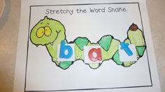 Cute worksheet for practicing stretching and blending words