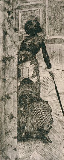 Edgar Degas - Mary Casatt at the Louvre: The Paintings Gallery (Etching)
