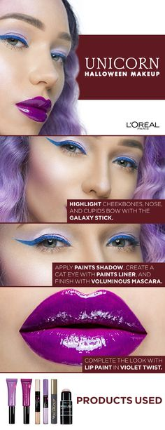 Unicorn Halloween Makeup Tutorial using Infallible Paints, Infallible Galaxy Stick, and Voluminous mascara. Click to watch the video tutorial featuring Liza Lash.