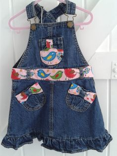 BABY BLUES 'blue birds' Dress Re-worked, pre-loved, over dress Heavy denim but made pretty with the new additions of interest to belt,front & back pockets. 3-4 YEARS  See https://folksy.com/shops/sldelaney £12.50
