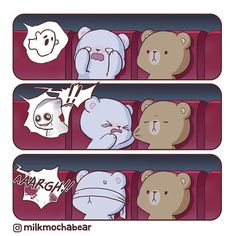Anime Couples Are you Milk or Mocha when you're watching horror movie? Cute Love Pictures, Cute Cartoon Pictures, Cute Love Gif, Cute Couple Cartoon, Cute Love Cartoons, Cute Couple Comics, Cute Bear Drawings, Kawaii Drawings, Cute Kawaii Animals