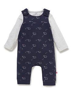 2 Piece Pure Cotton Bodysuit & Whale Print Dungaree Outfit   M&S