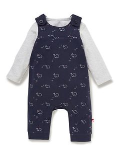 2 Piece Pure Cotton Bodysuit & Whale Print Dungaree Outfit | M&S